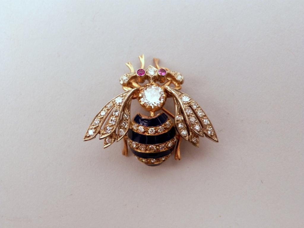 24: Vintage Gold and Diamond Bee Form Brooch