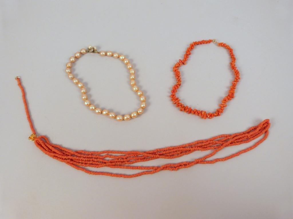 8: Faux Pearl Necklace and Two Faux Coral Necklaces