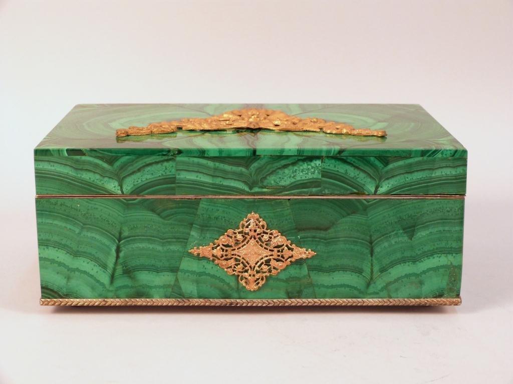 146: Russian Malachite and Bronze Box