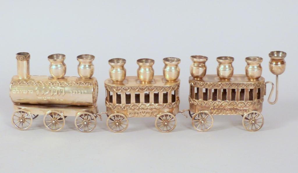 Israeli Sterling Silver Train Shaped Menorah