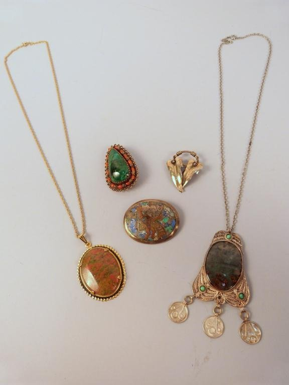 Exotic Stone Mounted - 3 Brooches & 2 Necklaces