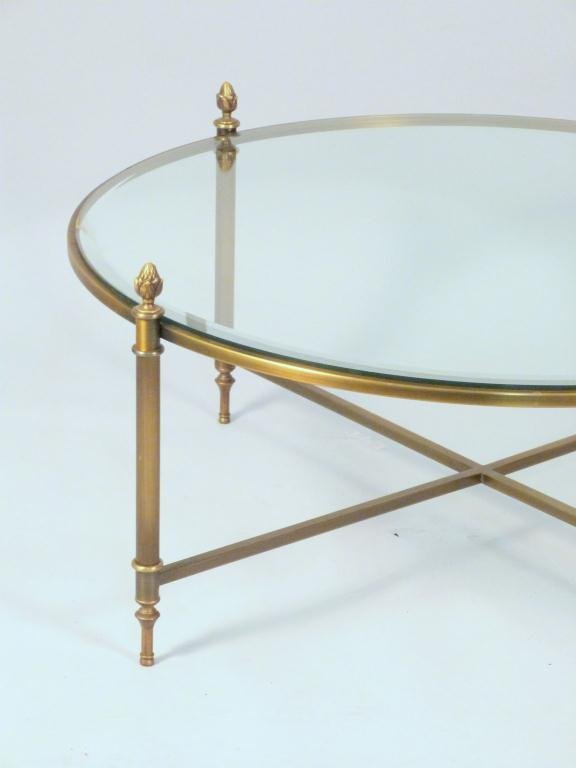 Brass and Glass Round Coffee Table - 2