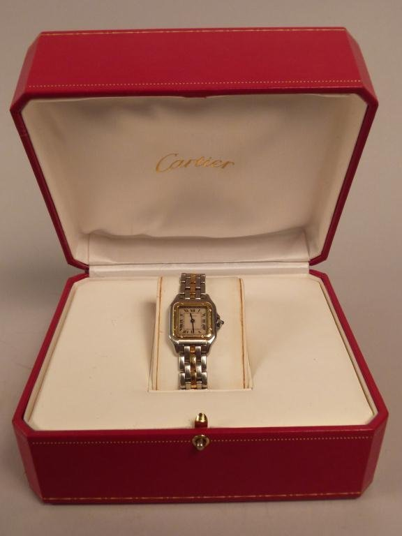 Cartier Ladies Stainless Steel Watch w/18K