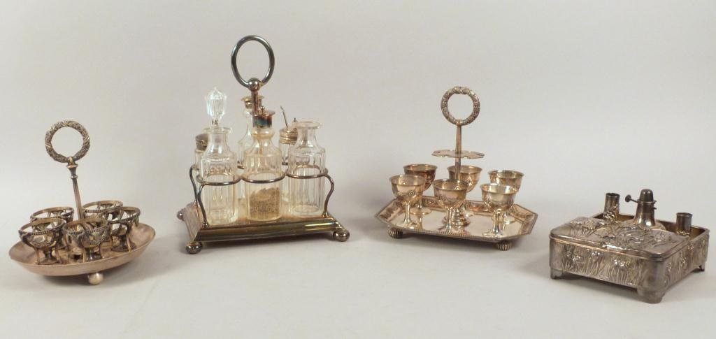 4 Silver Plated Condiment Stands