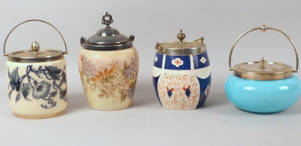4 English Biscuit Jars