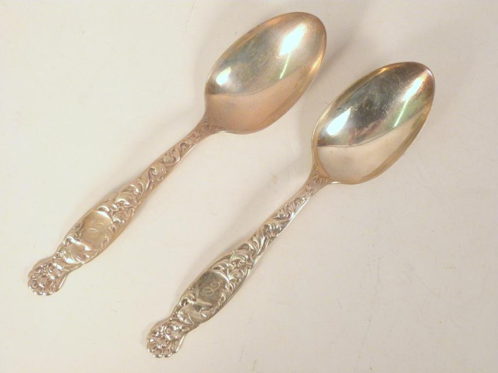 Pair Sterling Silver Serving Spoons