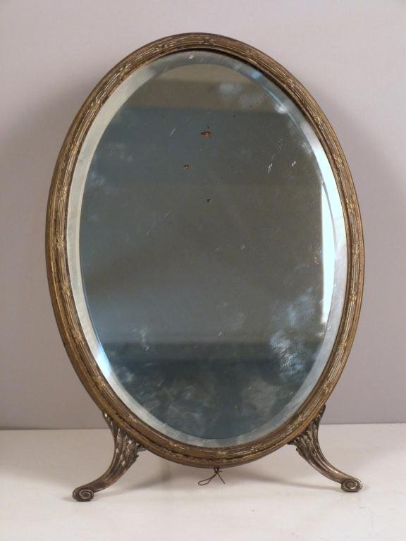 Adam Style Silver Plated Easel Vanity MIrror