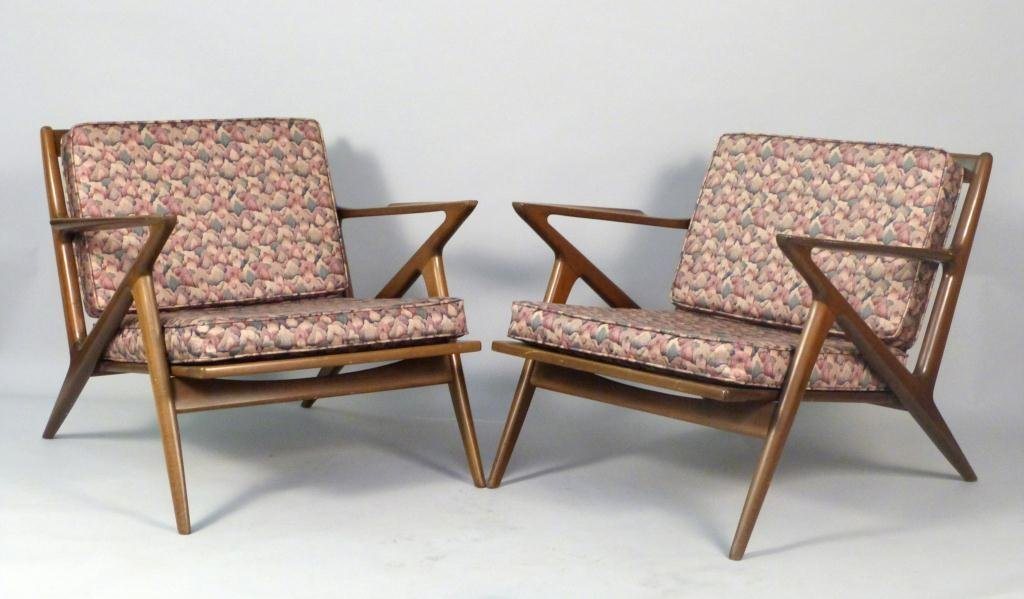 "Pair Danish Selig ""Z"" Chairs"
