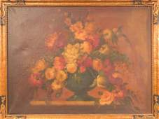 Flemish Style Oil on Canvas  Floral Still Life