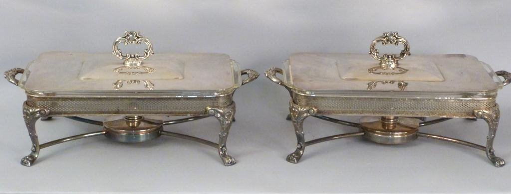 Pair Large Silverplated Chafing Dishes