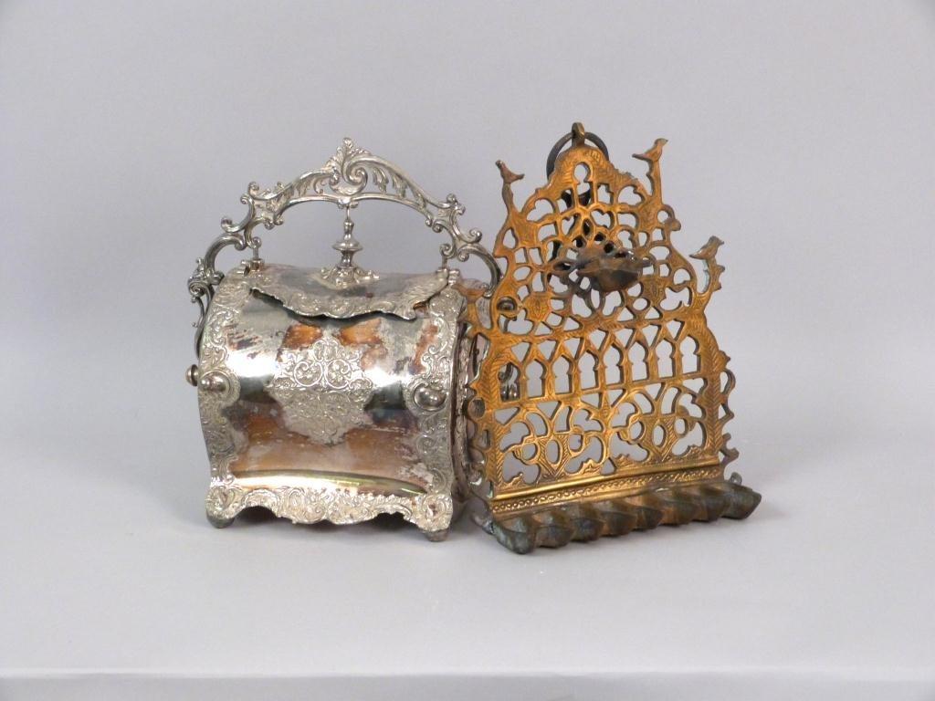 Brass Oil Menorah and Silverplated Bun Warmer