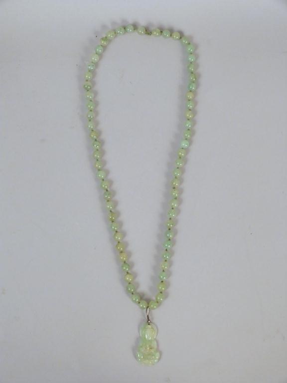 Jadeite Necklace with Buddha Pendant