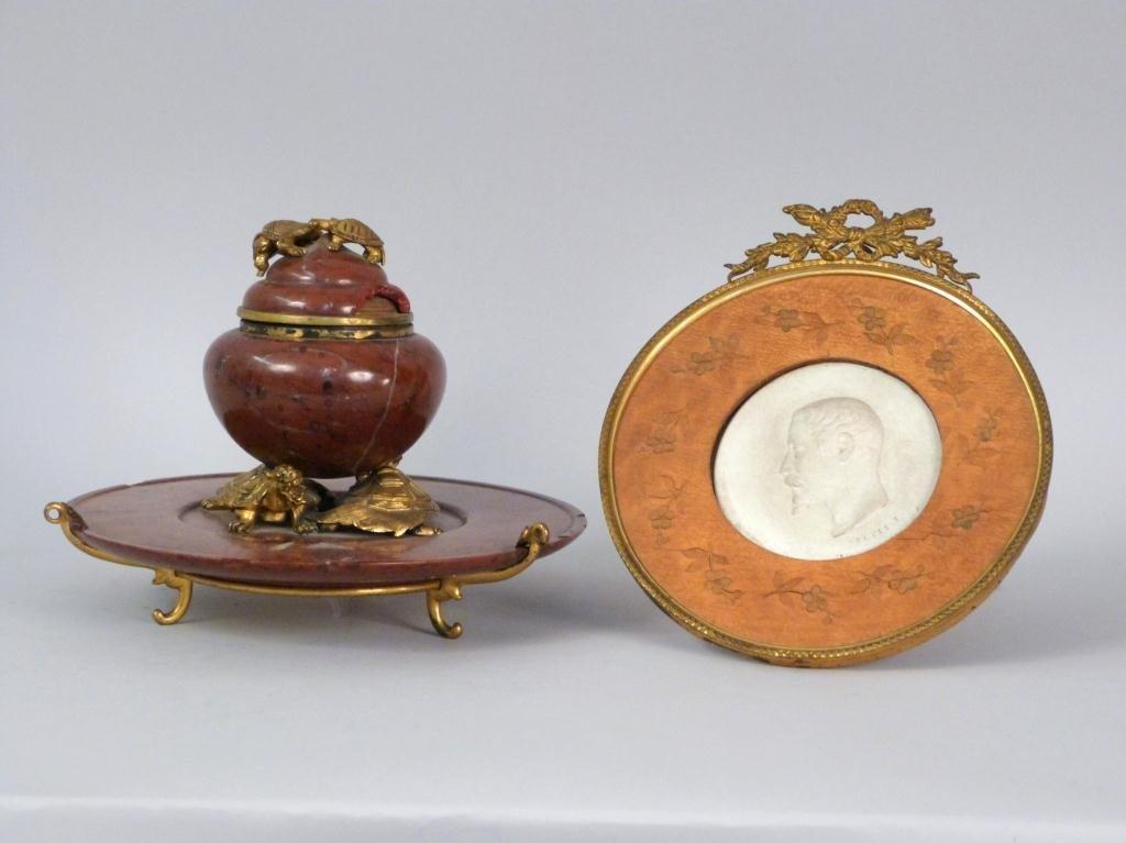 Two Bronze Framed Desktop Articles