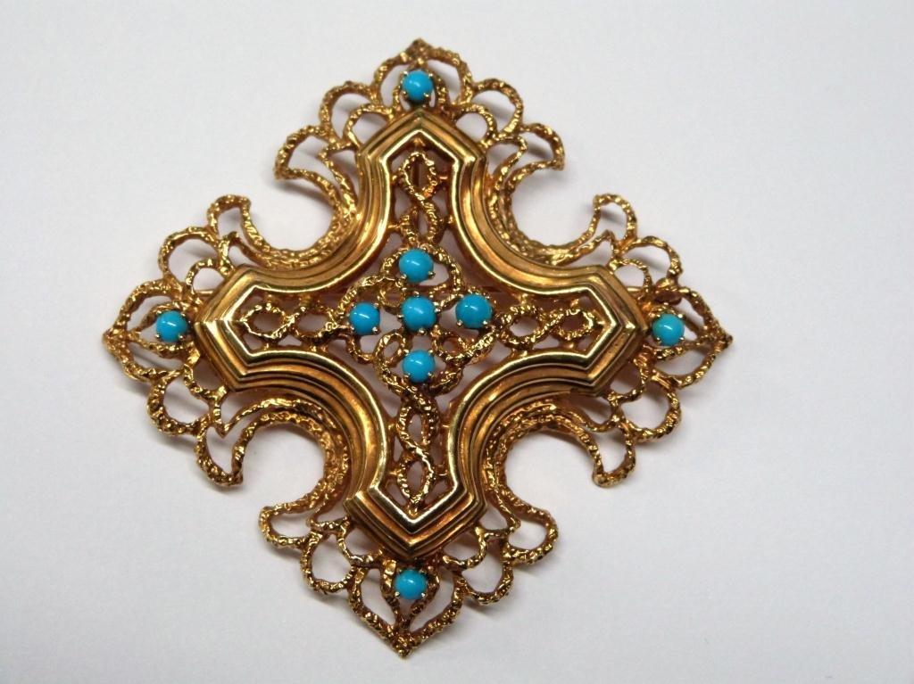 Tiffany 18K Gold & Turquoise Pendant/Brooch