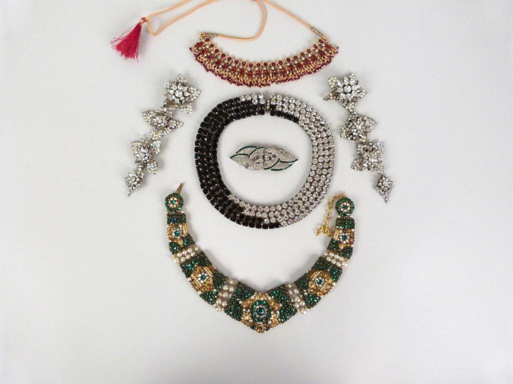 "Costume Jeweled Glitzy"" Jewelry Lot"""