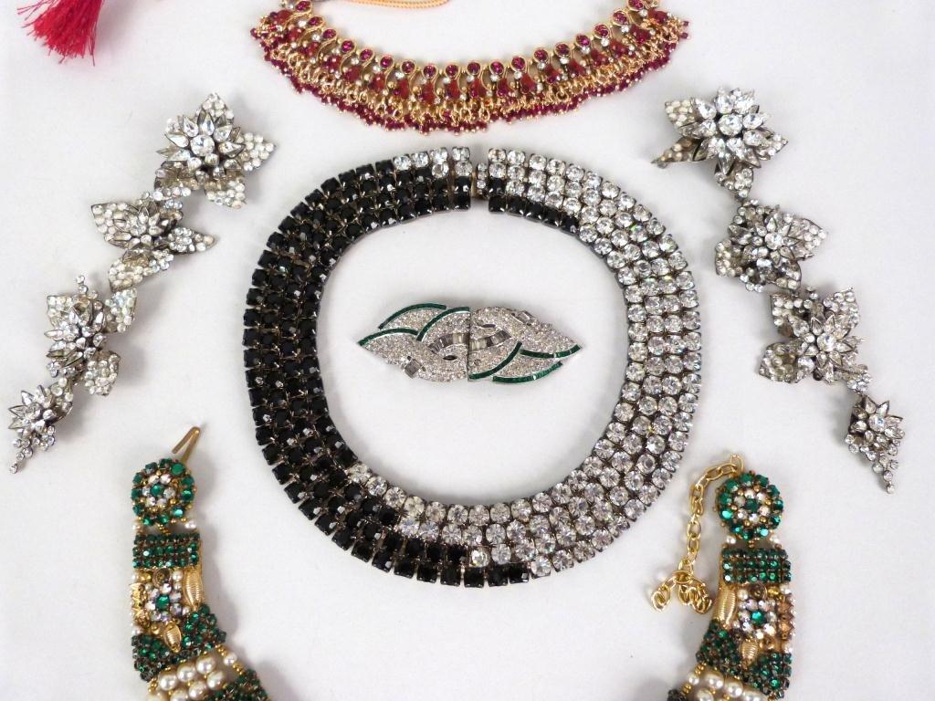 "Costume Jeweled Glitzy"" Jewelry Lot"" - 2"