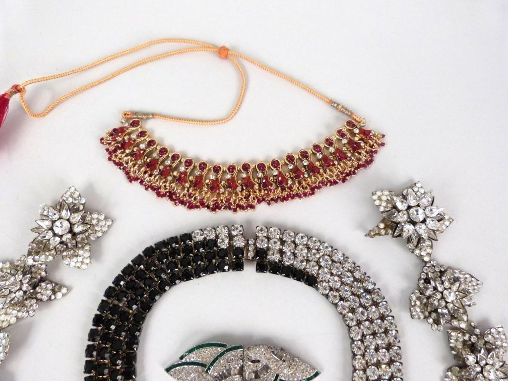 "Costume Jeweled Glitzy"" Jewelry Lot"" - 3"