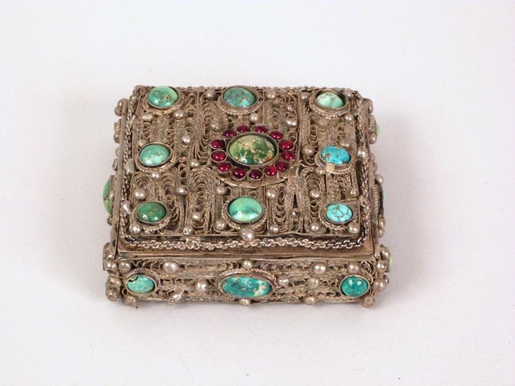 Silvered Metal and Jeweled Small Jewelry Box
