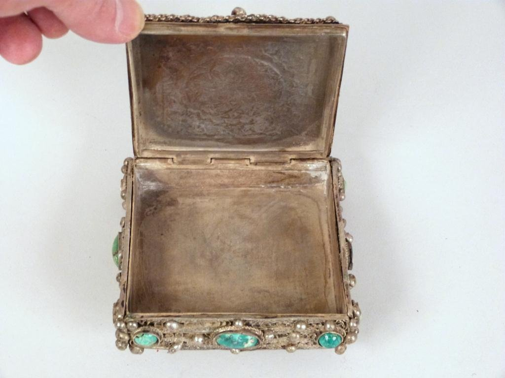 Silvered Metal and Jeweled Small Jewelry Box - 2
