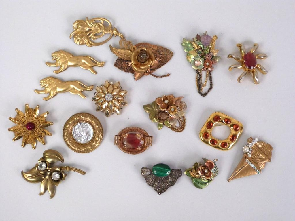 Assorted Gold Tone Pins & Brooches