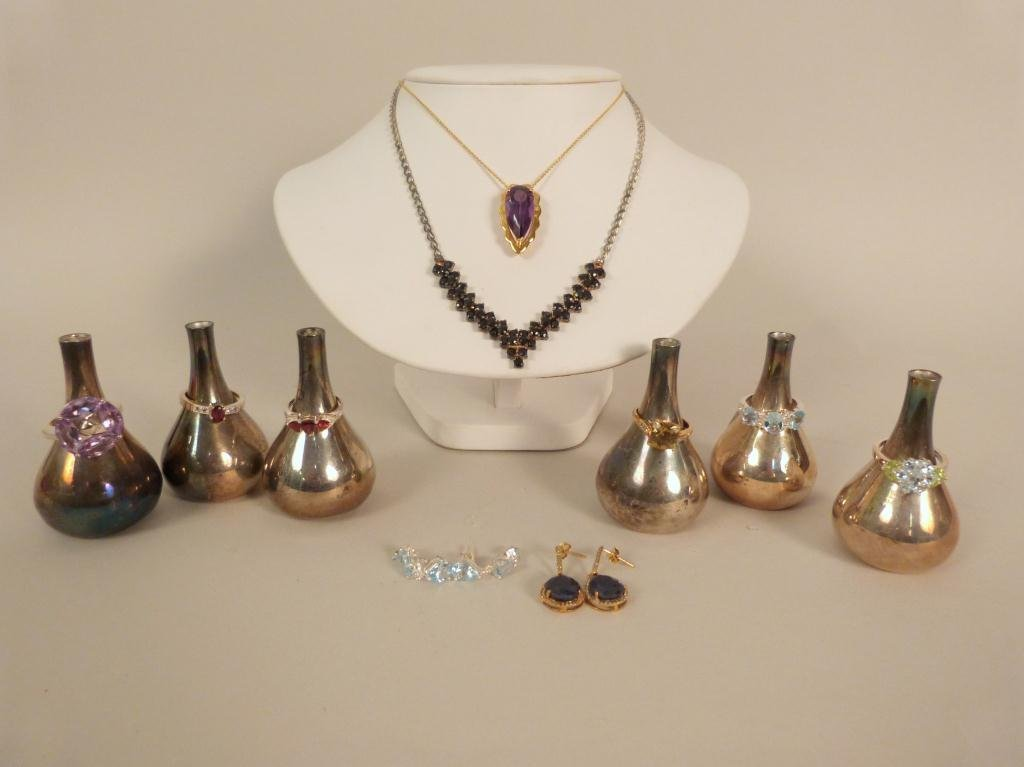Assorted Sterling Silver Rings, Necklaces etc.