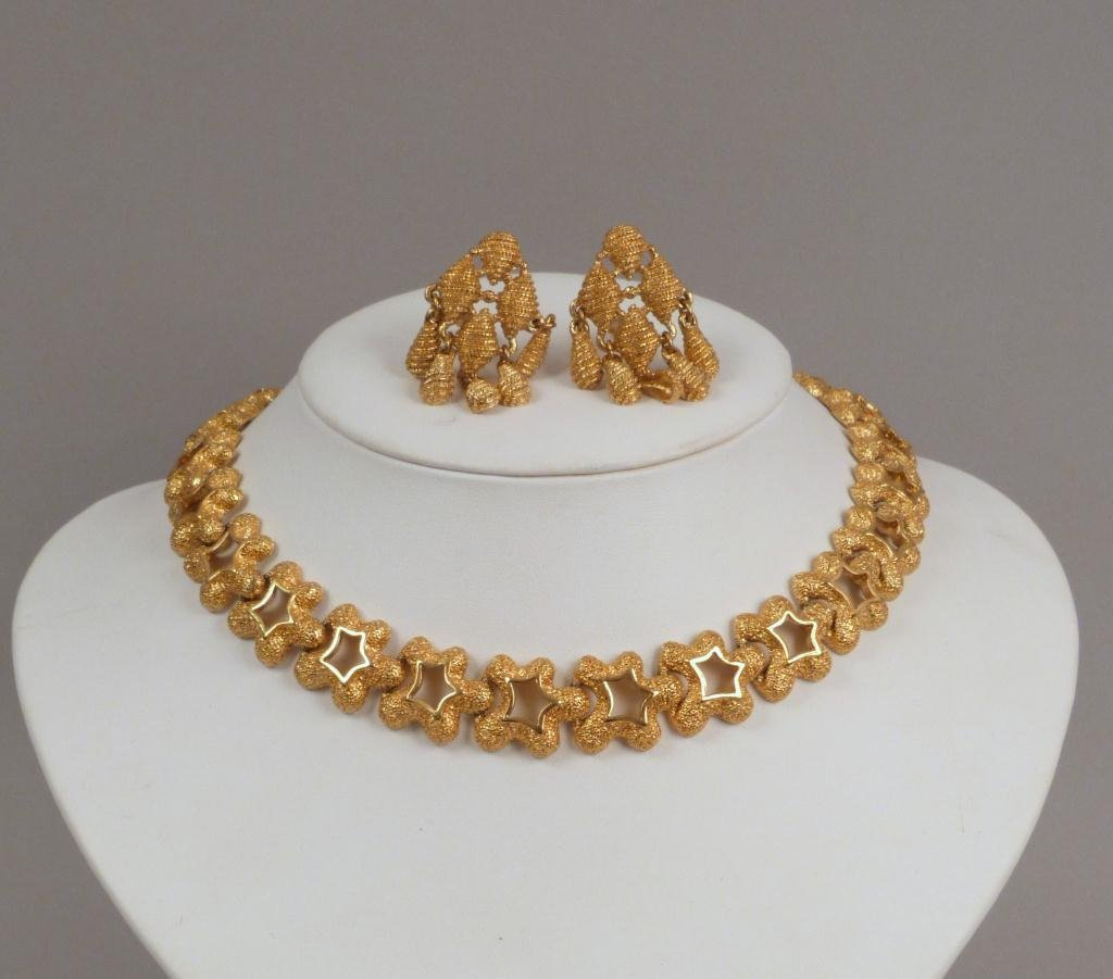 Monet Costume Jewelry Necklace and Pair Earrings