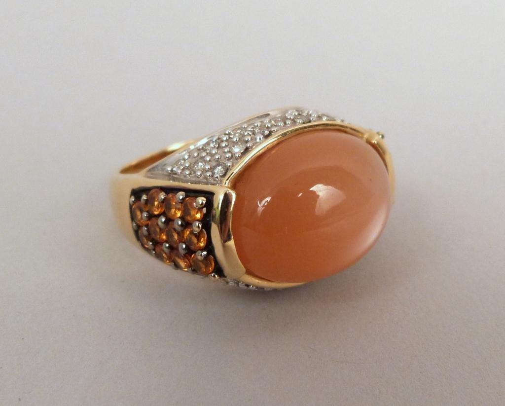 14K Dallas Prince Peach Moonstone Cabochon Ring