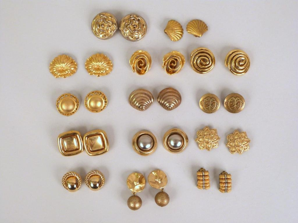 14 Pair Gold Tone Earrings