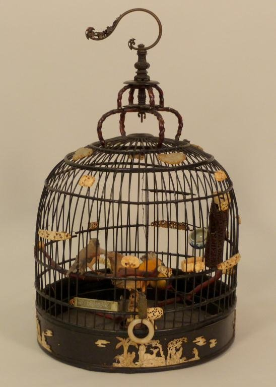 Chinese Ivory and Jade Mounted Birdcage