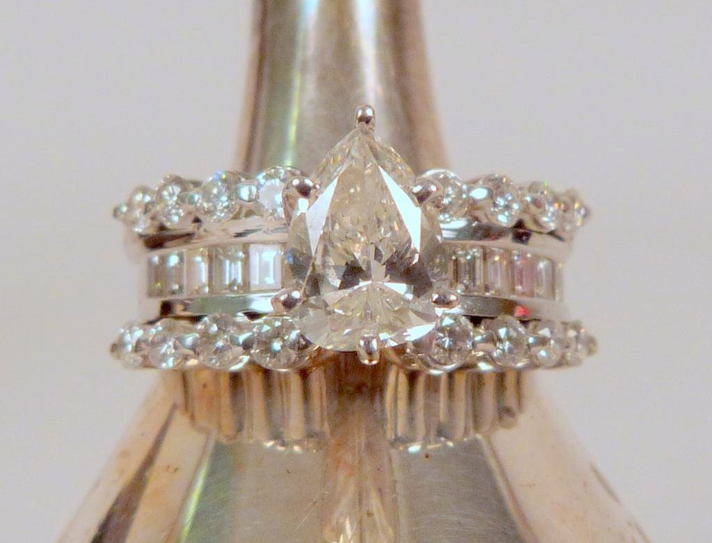 14 K White Gold and Diamond Ring