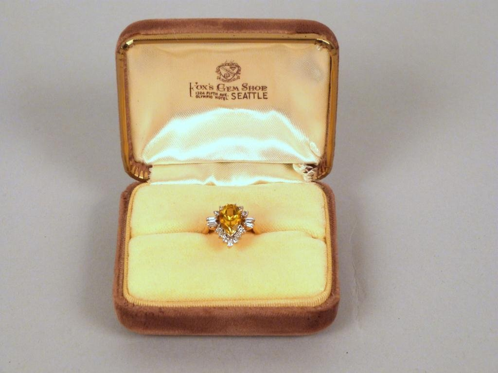 Diamond, Citrine and 14 K Gold Ring