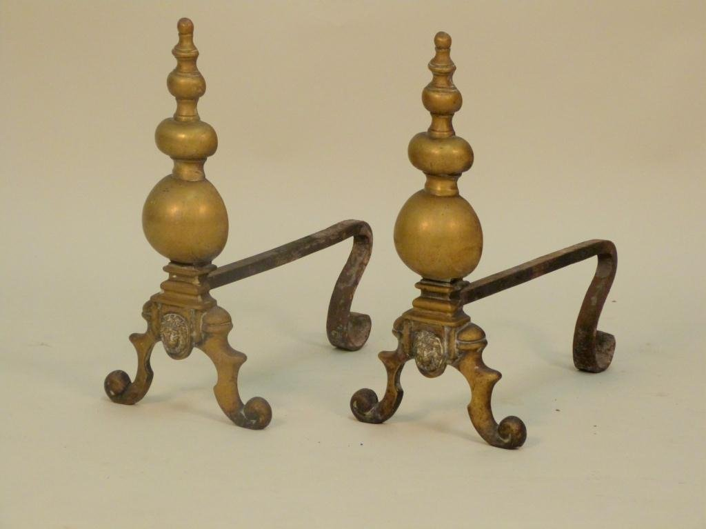 Pair Antique English Brass Fireplace Andirons