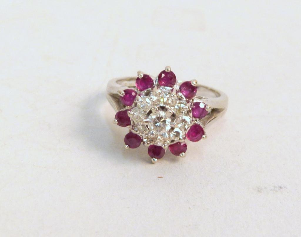 14K White Gold, Diamond and Ruby Cocktail Ring