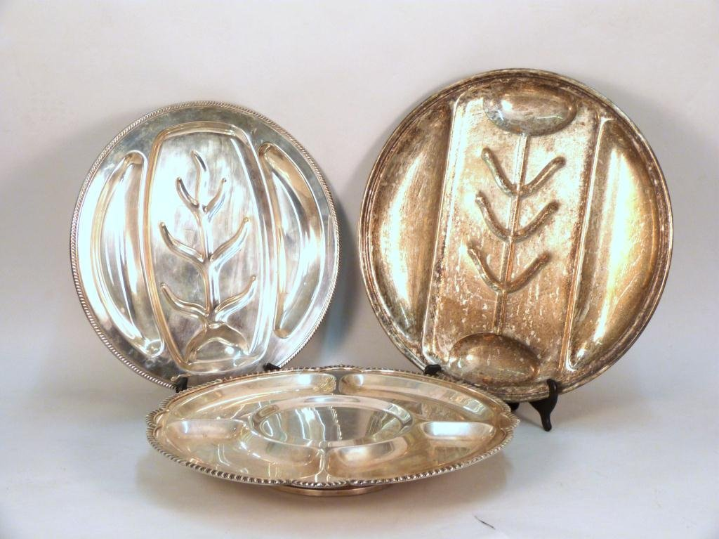 3 Large Silver Plated Trays