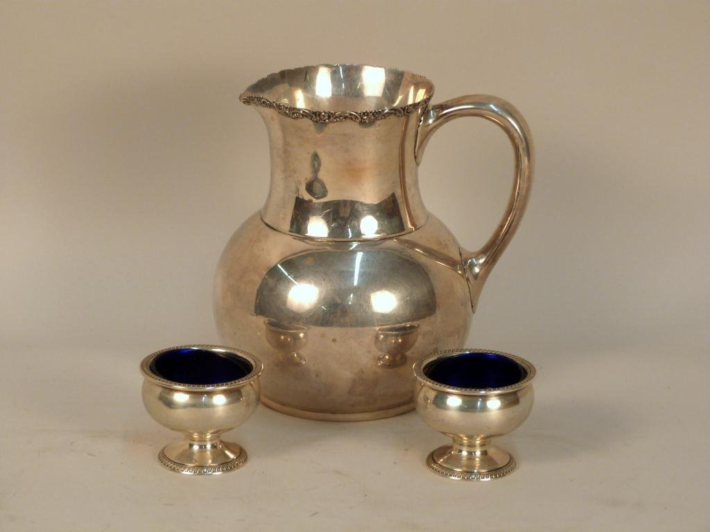 Sterling Silver Pitcher and 2 Open Salts