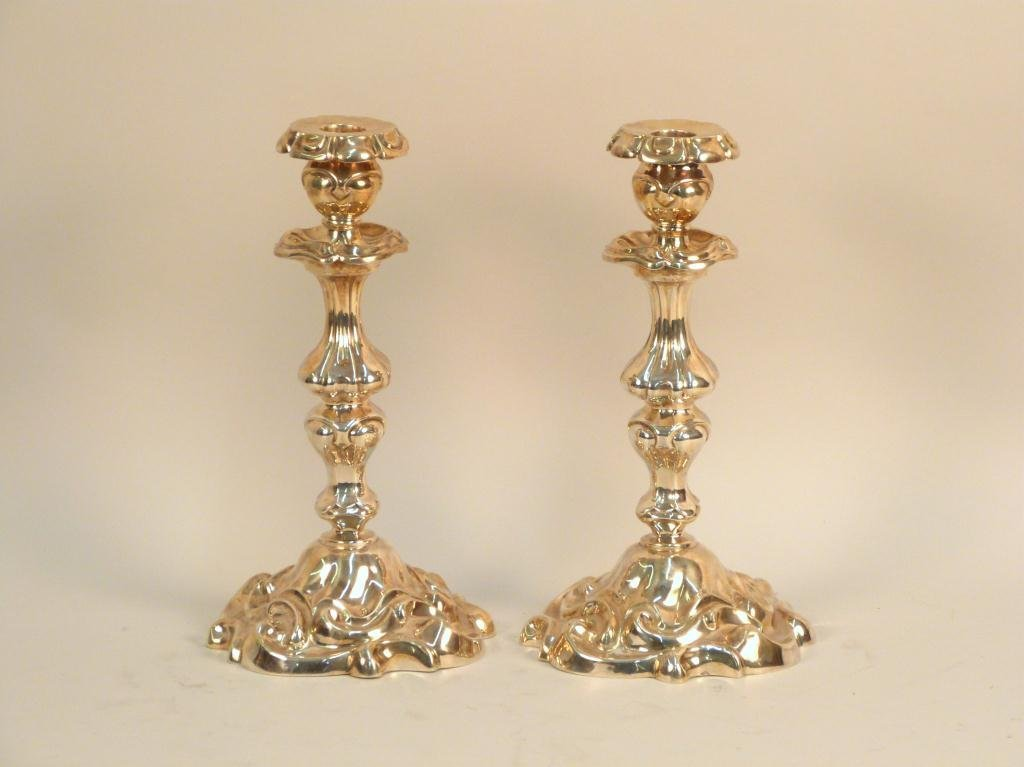 Pair French Silver Rococo Candlesticks