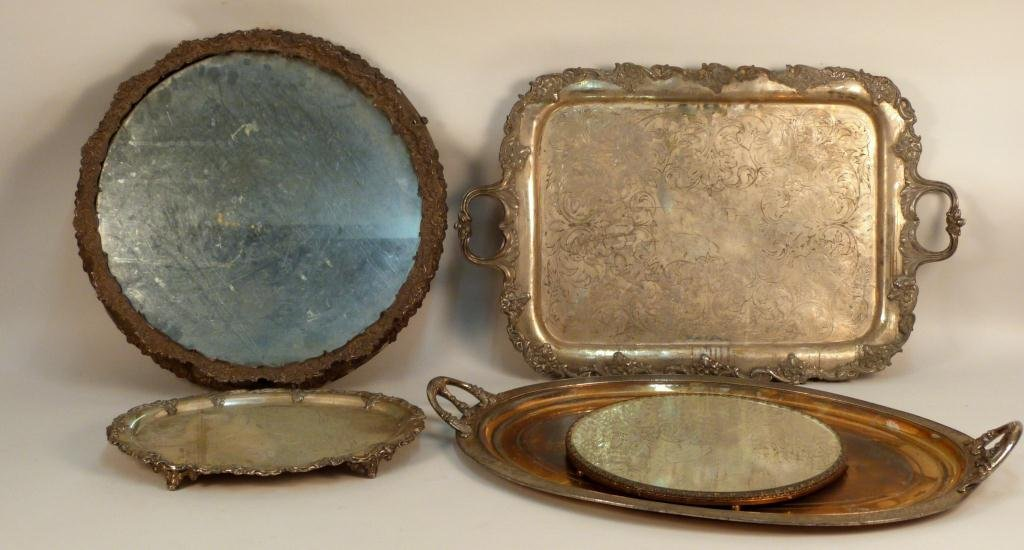Five Silver Plated and Mirrored Trays