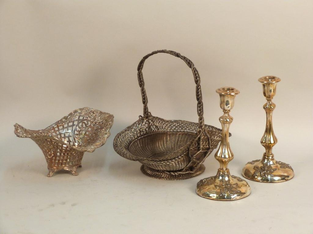 Four Silver plated Table Articles