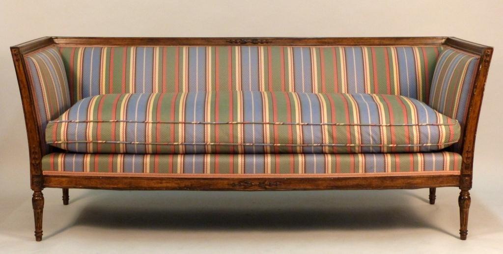 Regency Style Striped Upholstered Sofa