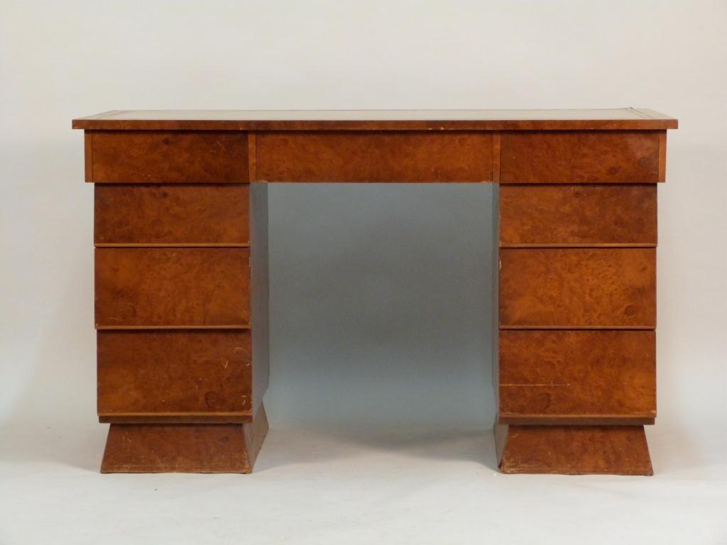 Art Deco Style Burled Wood Desk