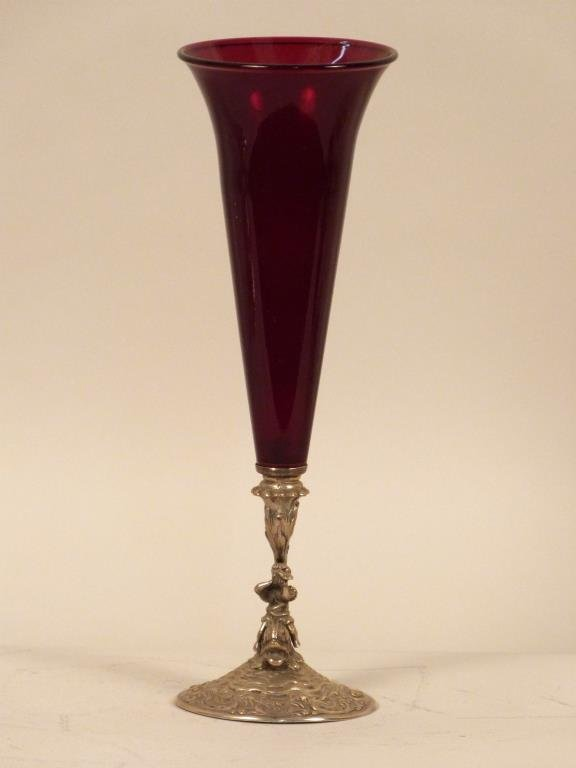 Figural Silver and Red Glass Vase