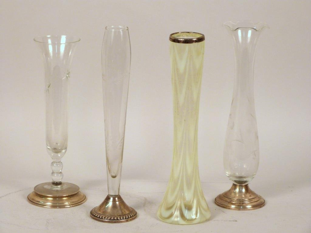 Lot of Four Sterling and Glass Bud Vases