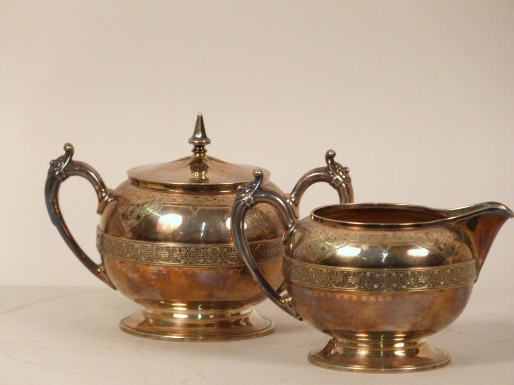 Gorham  Aesthetic Movement Creamer and Sugar Bowl