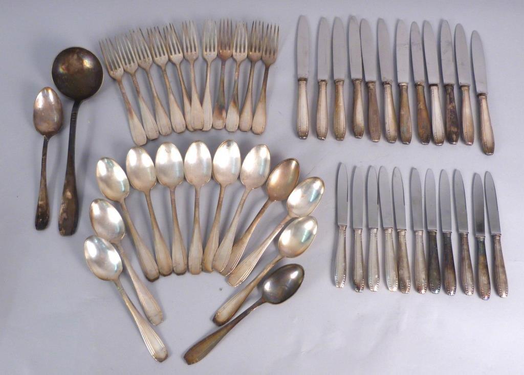 Art Deco French Silver Plate Flatware Set