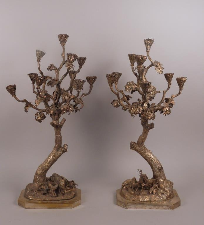 Pair of Tree Form Candelabras