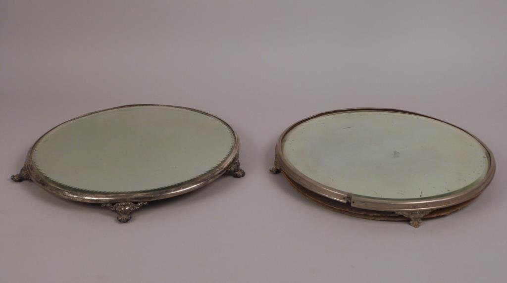 Two Mirrored and Footed Trays