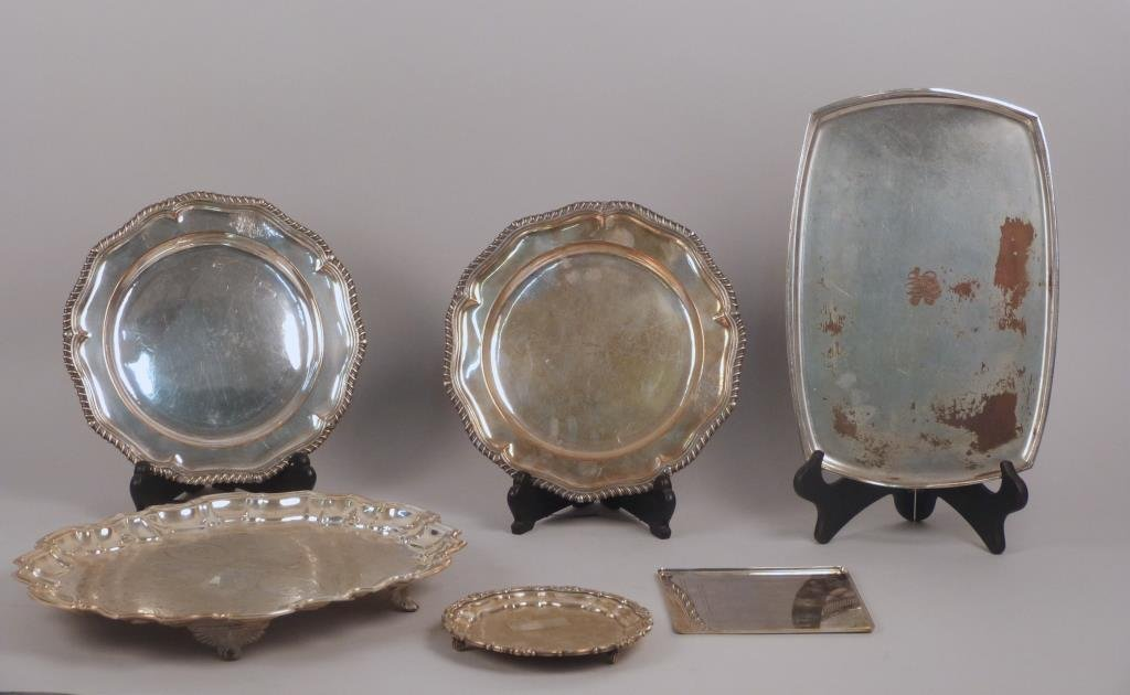 Six Silver Plated Trays