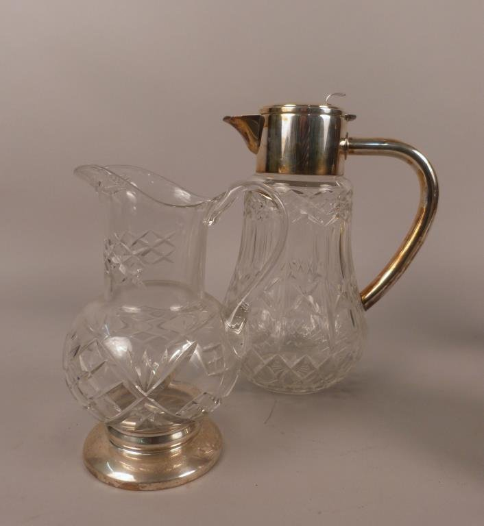 Two Pressed Glass and Silver Mounted Pitchers
