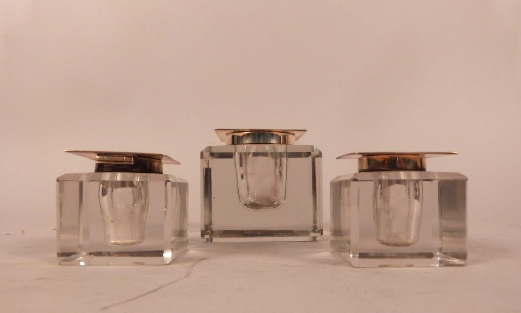 Three Sterling Mounted Glass Ink Wells