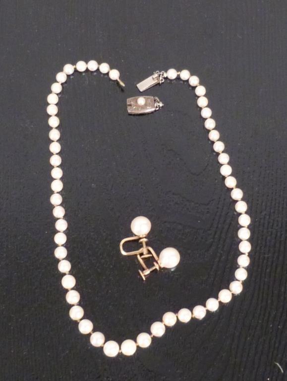Pearl Choker and Pair of Earrings